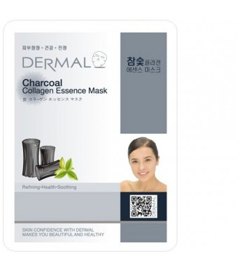 Dermal Korea Collagen Essence Full Face Facial Mask Sheet - Charcoal (10 Pack)