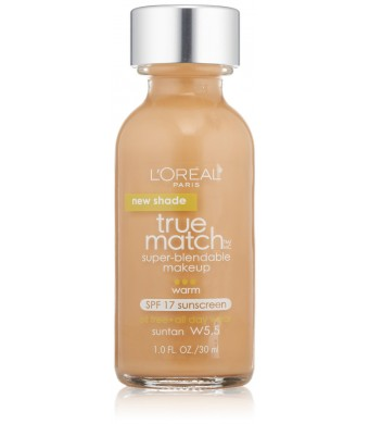 L'Oreal Paris True Match Super Blendable Makeup, Suntan W5.5, 1.0 Ounces