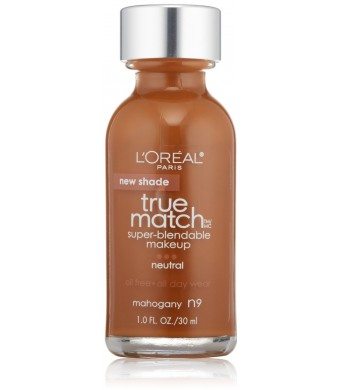 L'Oreal Paris True Match Super Blendable Makeup, Mahogany N9, 1.0 Ounces
