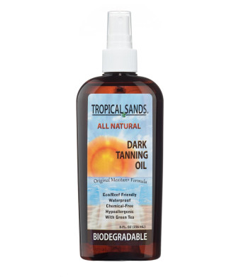 Tropical Sands All Natural Biodegradable Dark Tanning Oil, Waterproof and Reef Safe!, 8 fl oz