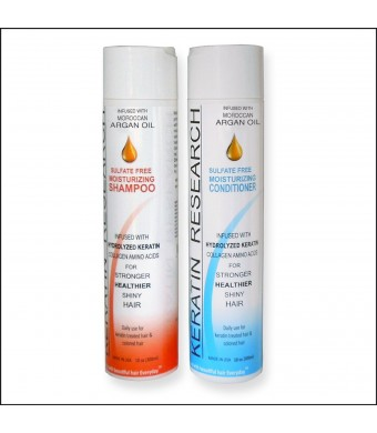 Sulfate Free After Care Shampoo and Conditioner for Global Complex Brazilian Keratin Hair Treatment 2 Bottles Value Set