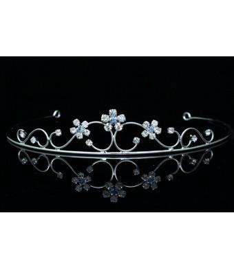 Princess Bridesmaid Flower Girl Rhinestone Crystal Tiara (Blue Crystals Silver Plated) T460