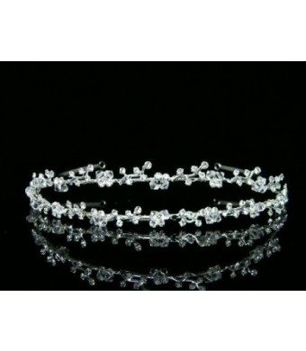Double Band Vine Berry Flower Bridal Wedding Headband Tiara - Clear Crystals Silver Plating