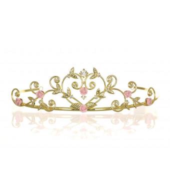 Rose Flower Rhinestone Crystal Wedding Tiara Crown - Pink Roses Gold Plating