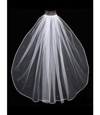 1T 1 Tier Rhinestones Crystal Sattin Rattail Edge Bridal Wedding Veil - White Color Shoulder Length 25""