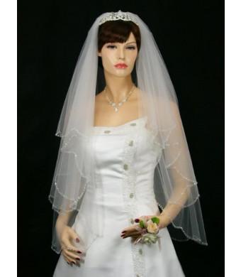 """2T 2 Tier Beaded Scallop Edge Bridal Wedding Veil - White Fingertip Length 36""""  V170"""
