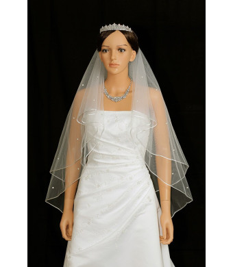 2T 2 Tier Rattail Edge Center Gathered Rhinestone Crystal Bridal Wedding Veil - Ivory Fingertip Length 36""