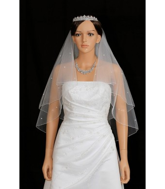 2T 2 Tier Pencil Edge Center Gathered Rhinestone Crystal Bridal Wedding Veil - White Elbow Length 30""