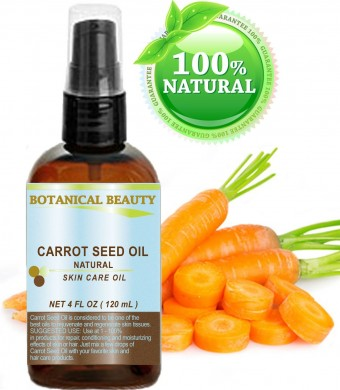 "CARROT SEED OIL 100 % Natural Cold Pressed Carrier Oil. 4 Fl.oz.- 120 ml. Skin, Body, Hair and Lip Care. ""One of the best oils to rejuvenate and regenerate skin tissues."" by Botanical Beauty"