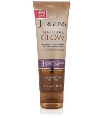 Jergens Natural Glow - 3 Days to Glow Moisturizer Medium to Tan Skin, 4 Ounce