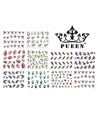 PUEEN 3D Nail Art Sticker Collection Set E1 - 10 Packs in Different Designs (Over 240 Stickers) 3D Glitter Sparkling Feathers Roses Cats Leopard Prin