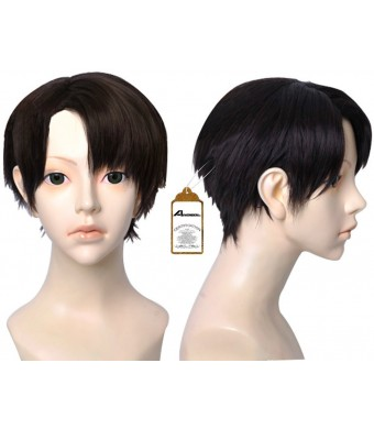 Free Hair Cap + Japanese Anime Attack on Titan Levi / Rivaille Short Cosplay Wig