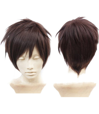 Anangelhair + Free Hair Cap Attack on Titan Eren Jaeger Dark Brown Anime Cosplay Wig