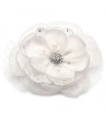 USABride White Lace and Fabric Flower Clip with Rhinestones, Bridal Hair Accessory 2219 WH