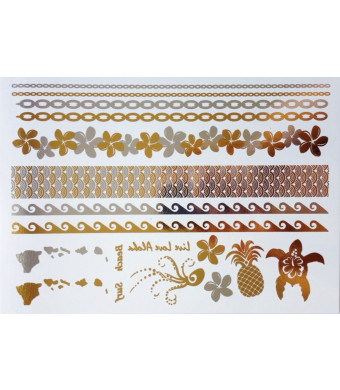 Gold and Silver Metallic Temporary Tattoos Hawaii By Divine Planet