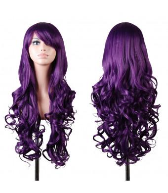 "Rbenxia 32""  80cm Long Hair Heat Resistant Spiral Curly Cosplay Wig (80cm:purple)"