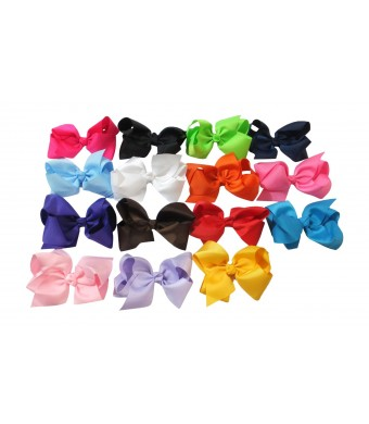 Large Boutique 5.5in Hair Bows for Women, Teens and Toddlers [15pcs] ?Grosgrain Ribbon w/ High Quality Alligator Clips ?Perfect Hair Accessories for