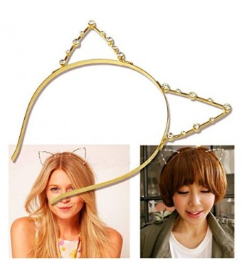 Hip Mall Sweet Fashion Crystal Rhinestone Metal Headwear Punk Hair Wrap Cat Ear Headband Party (Gold)