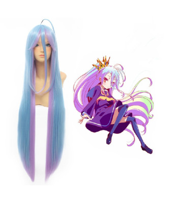 Free Hair Cap+ for Kids and Adults No Game No Life Shiro Cosplay Wig Long Blue Mix Wigs Cosplay Convention Event Wigs