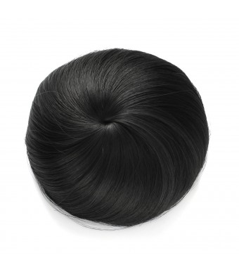 OneDor Synthetic Hair Bun Extension Donut Chignon Hairpiece Wig (1B-Off Black)
