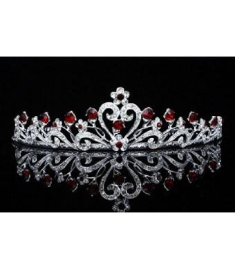 Flower Ribbon Bridal Tiara Crown - Red Crystals Silver Plating T680