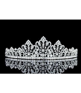 Filigree Flower Design Rhinestone Crystal Bridal Tiara Crown T1026