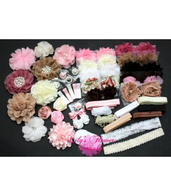 Baby Shower Headband Kit - Headband Kit - DIY Headband Kit - Make 32 Headbands and 5 Clips - Baby Shower Headband Station Kit - DIY Hair Bow Kit - Vi