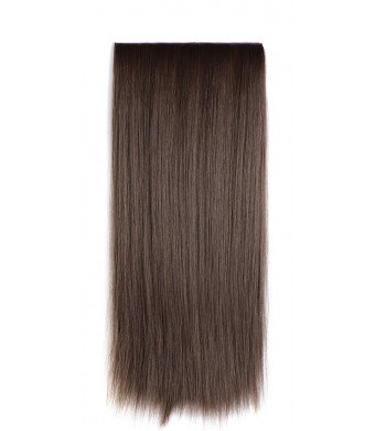 "OneDor24""  Straight 3/4 Full Head Synthetic Hair Extensions Clip on Hairpieces (8#-Medium Ash Brown)"
