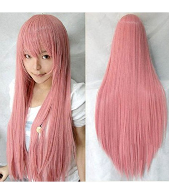 "Anogol Vocaloid 32""  80cm Long Straight Wigs Lolita Pink Cosplay Wig Kanekalon Costume Party Wig Halloween"