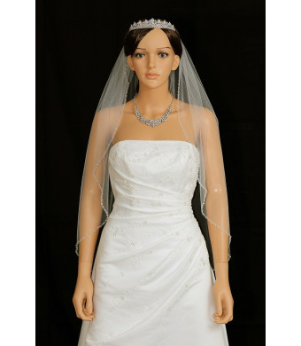 "1T 1 Tier Bicone Crystal Beaded Edge Wedding Veil - ivory Fingertip Length 36""  V291"