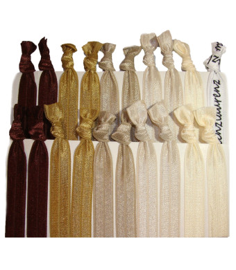 Hair Ties Ponytail Holders - 20 Pack - Brown Ombre No Crease Ouchless Elastic Styling Accessories Pony Tail Holder Ribbon Bands - By Kenz Laurenz