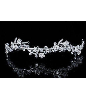 Flower Wreath Bridal Prom Headband Tiara - Clear Crystals Silver Plated T595