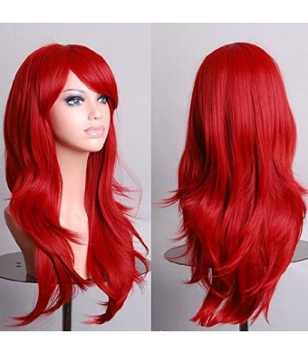 Womens/Ladies 70cm Red Color Long CURLY Cosplay/Costume/Anime/Party/Bangs Full Sexy Wig (70cm,Curly,Red)