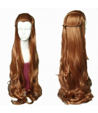 Anangel Free Hair Cap+for Kids / Adults Lord of the Rings / the Hobbit Elf Tauriel Brown Wavy Cosplay Wig Convention Costume Wigs D0050