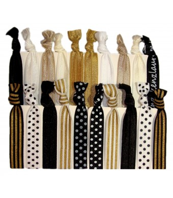 """Hair Ties Ponytail Holders - 20 Pack """"Sophisticated""""  Black White Gold Dots Stripes No Crease Ouchless Elastic Styling Accessories Pony Tail Elastic"""