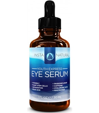 InstaNatural Eye Serum For Dark Circles, Puffiness and Wrinkles - With 10% Vitamin C, Astaxanthin, Kojic Acid and Caffeine - 1oz