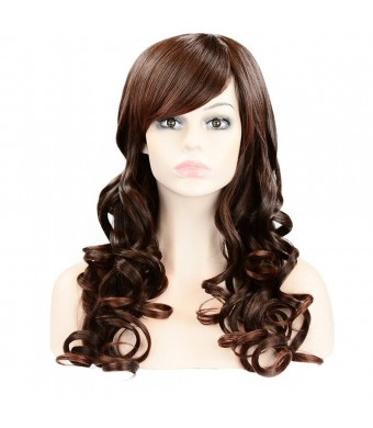 PINKISS High Quality Fashion Hair Replacement Extension Wig with Free Quality Wig Cap (Brown Brown Long Curly 101-2T33)