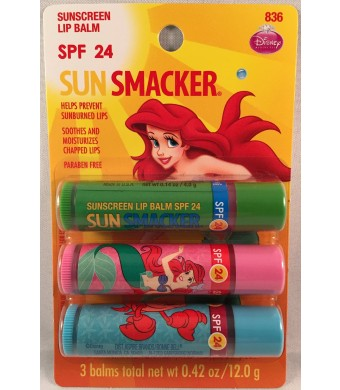 "Lip Smacker ""Sun Smacker""  Lip Balm ~ Disney Ariel - 1 Pack of 3"