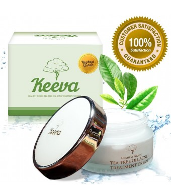 Keeva Organics Tea Tree Oil for Acne Treatment - 1 Step Natural Formula Fights Blemishes, Spots, Scars, Cystic Bumps, Blackheads and Bacne