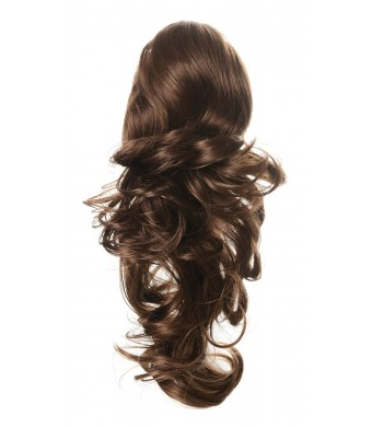 """Onedor 15""""  Dual Use Curly Styled Clip In Claw Drawstring Ponytail Hair Extension Synthetic Hairpiece 130g with a jaw/claw clip (12#-Light Brown)"""