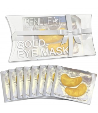 Beneleaf Gold Collagen Eye Mask - Repair and Moisturize Puffy Eyes, Dark Circles (8 Pairs)