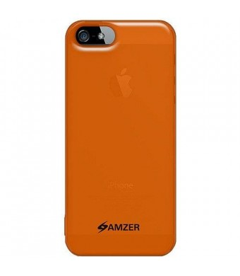Amzer Soft Gel TPU Gloss Skin Fit Case Cover for Apple iPhone 5, iPhone 5S (Fits All Carriers) - Translucent Orange