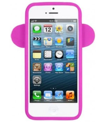 Decoro SILIP5MONHP Premium Silicone Case for Apple iPhone 5 - Cartoon Monkey Design - 1 Pack - Retail Packaging - Hot Pink