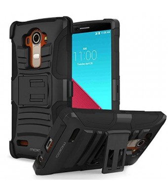 LG G4 MoKo [Heavy Duty] Full Body Rugged Holster Cover with Swivel Belt Clip - Dual Layer Shock Resistant LG G4 5.5 Inch Smart Phone