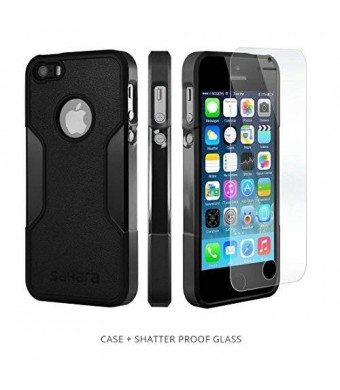 iPhone 5s Case, Black With [Tempered Glass Screen = Best LCD Protector] [Patented Lens Hood = Better Pictures] - Slim iPhone 5 Case by Sahara Case