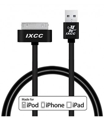 iXCC 3ft Apple MFi Certified 30 pin to USB Sync and Charge Cable for iPhone 4/4s, iPad 2/3, iPod 1-6 Gen - Black