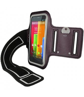iGadgitz Reflective Anti-Slip Black Sports Jogging Gym Armband for Motorola Moto G 4G 1st Generation