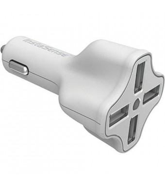 DigiPower 4-Port USB Car Charger with InstaSense Technology PC-406i in Retail Packaging - White