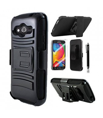 luckiefind Cover-U Samsung Galaxy Avant Case G386 Extreme Rugged Dual Layer Kickstand Combo Case with Belt clip Holster Black