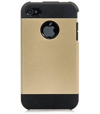 iPhone 4S Case, iPhone 4 Case iSee Case (TM) Luxury Tuff Super Armor Hybrid Dual Layer Protective Cover for Apple iPhone 4 4S(4S-Tuff Armor Gold)